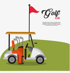 golf club car bag and clubs flag vector image vector image