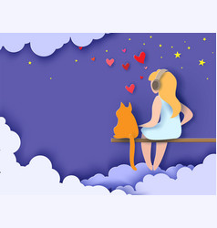 headphones redhead girl dreams vector image vector image
