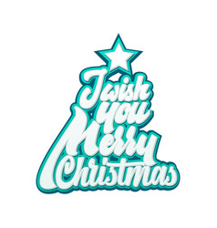 i wish you merry christmas lettering and vector image