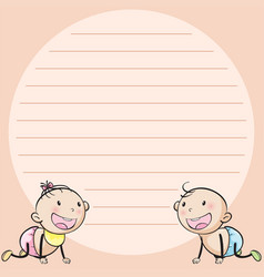 line paper template with two infants vector image