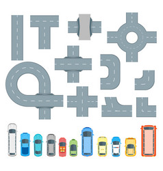 road element and cars set top view vector image vector image
