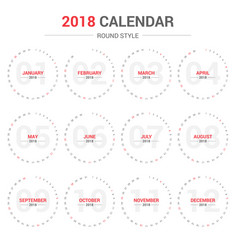 yearly wall calendar round template for 2018 vector image
