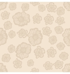 Beige and light brown seamless flower pattern vector image vector image