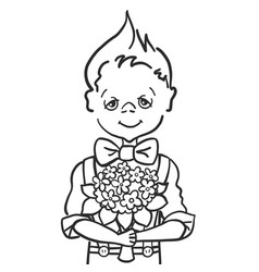 hand paint draw little smile boy with batterfly vector image vector image