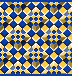 moving truncated pyramids on a checkered surface vector image