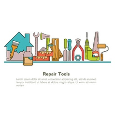 Set of linear icons construction tools vector image
