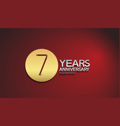 7 years anniversary logotype with golden circle vector