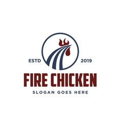 abstract rooster and fire hot fried chicken logo vector image