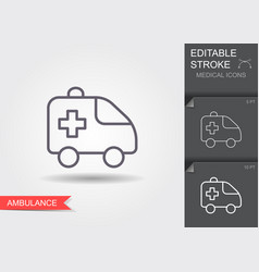 ambulance car line icon with editable stroke with vector image
