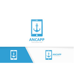 anchor and phone logo combination marine vector image
