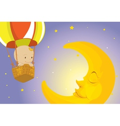 Baby visits moon vector image