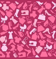 background for woman shopping items on seamless vector image