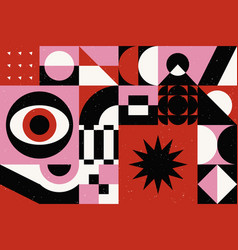 background in retro bauhaus style abstract vector image
