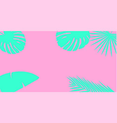 blue palm leaves silhouette on a pink background vector image