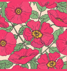 botanical seamless pattern with pink dog roses vector image