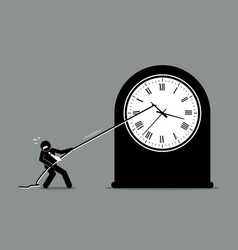 businessman trying to stop clock from moving vector image