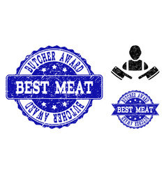 Butcher man distress icon and stamps vector