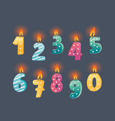 candle number set vector image
