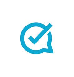 Check talk chat bubble logo icon vector