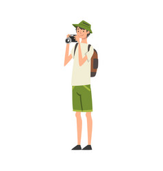 cheerful tourist man taking photography on vector image