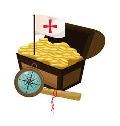 Chest with gold coins and flag cross vector