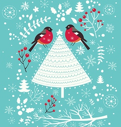 christmas with bird and tree vector image