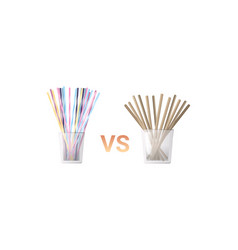 Colorful drinking plastic vs paper disposable vector
