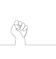 continuous line drawing fist one line hand with vector image