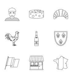 Country of France icons set outline style vector