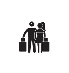 couple travel black concept icon couple vector image
