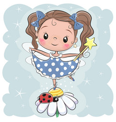 cute fairy on the flower vector image