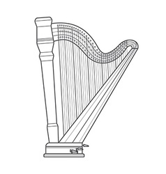 dark outline pedal harp technical vector image