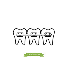 Dental orthodontics treatment - cartoon outline vector