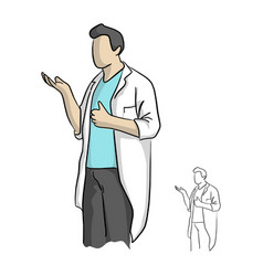 doctor or scientist showing thumb up vector image