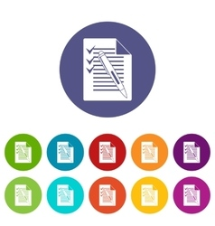 Document with plan and pen set icons vector image