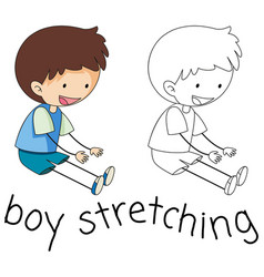 Doodle boy stretching on white background vector
