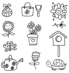 Doodle of spring with hand draw vector image