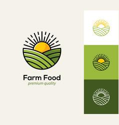 Farm logo with field and sun vector