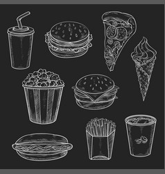 fast food meals vecor icons set of chalk sketch vector image