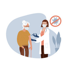female doctor in clinic giving coronavirus vaccine vector image