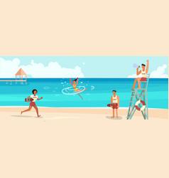 female lifeguard saving a drowner vector image