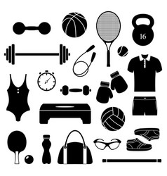 Fitness equipment on white background vector