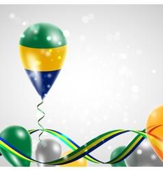 Flag of Gabon on balloon vector image