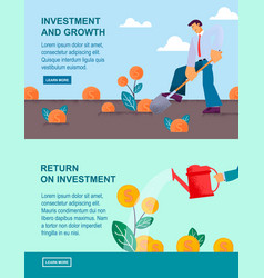Flat banner investment and growth return vector