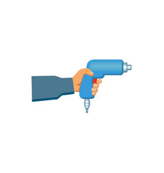 flat man hand holding automatic screwdriver vector image