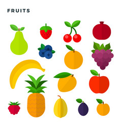 Fruits and berries flat icons set isolated on vector