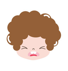 Full color boy head with curly hair and pity face vector