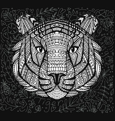 Geometric patterned head tiger vector