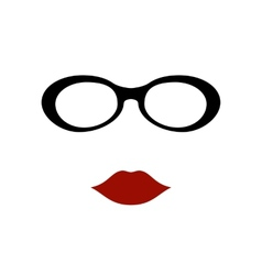 glasses with lips vector image