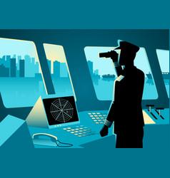 Graphic a ship captain vector